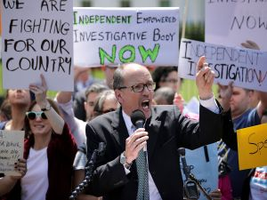 WASHINGTON, DC - MAY 10: Democratic National Party Chirman Tom Perez speaks as about 300 people rally to protest against President Donald Trump's firing of Federal Bureau of Investigation Director James Comey outside the White House May 10, 2017 in Washington, DC. Trump fired Comey a day earlier, demonstrators called it the 'Tuesday Night Massacre,' recalling former President Richard Nixon's firing of a independent special prosecutor.