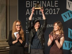 Anne Imhof shows the Golden Lion for Best National Participation during the Opening Ceremony of the 57th Biennale Arte on May 13, 2017 in Venice, Italy. The 57th International Art Exhibition of La Biennale di Venezia opens today to the public and will run till November 26, 2017.