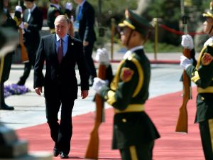 BEIJING, CHINA - MAY 15: Russian President Vladimir Putin arrives at the Belt and Road Forum, at the International Conference Center in Yanqi Lake on May 15, 2017 on the outskirt of Beijing, China. The Forum, running from May 14 to 15, is expected to lay the groundwork for Beijing-led infrastructure initiatives aimed at connecting China with Europe, Africa and Asia.