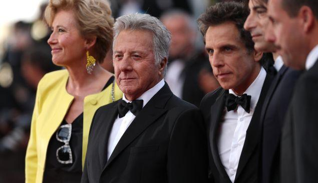Emma Thompson, Dustin Hoffman, Ben Stiller, director Noah Baumbach and Adam Sandler attend The Meyerowitz Stories' screening during the 70th annual Cannes Film Festival.