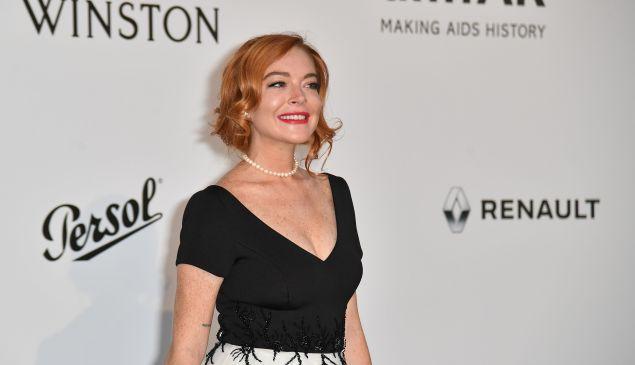 Lindsay Lohan at the amfAR Cinema Against AIDS Gala.