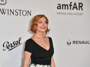 Lindsay Lohan at the amfAR Cinema Against AIDS Gala.