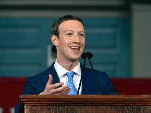 Facebook founder Mark Zuckerberg delivering the commencement address at Harvard.