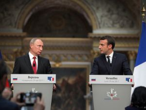 PARIS, FRANCE - MAY 29: Russian President Vladimir Putin (L) and France's President Emmanuel Macron (R) hold a press conference after their meeting in Paris, France on May 29, 2017.