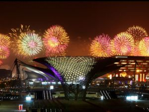 Fireworks illuminate the sky over China Pavilion and the Expo Axis during the opening ceremony of the 2010 World Expo on in Shanghai, China.