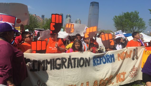 Pro-immigration workers rally in Jersey City.