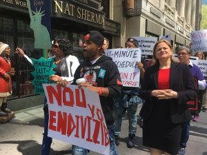 City Council Speaker Melissa Mark-Viverito marching with fast food workers on May Day in Midtown Manhattan.