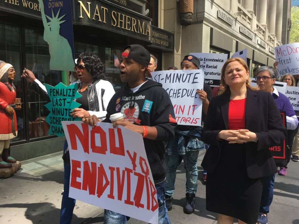 Fast Food Workers and Pols Rally for Higher Wages and Immigrant Rights in Manhattan on May Day