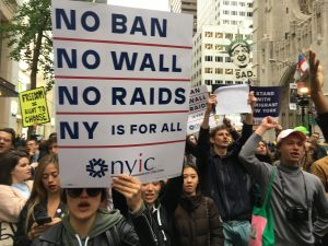 More than 300 New Yorkers protested against President Donald Trump around Trump Tower.