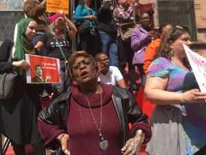 Harlem resident Mildred Rotondo was among hundreds of protesters blasting House Speaker Paul Ryan as he was visiting Success Academy 1 in Harlem.
