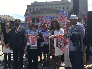 Elected officials and Haitian leaders rallied in Foley Square for the extension of Temporary Protected Status for 50,000 Haitians in the United States.