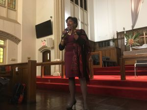 Senate Democratic Leader Andrea Stewart-Cousins speaks at a community meeting hosted by United Thru Action at The Church of the Village in Greenwich Village.