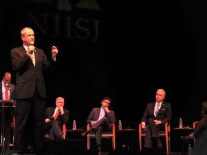 Murphy, Rogers, Hirsh Singh, John Wisniewski and Mark Zinna at NJPAC on May 1, 2017.