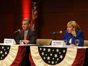 Jack Ciattarelli and Kim Guadagno during a primary debate.
