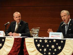Phil Murphy and John Wisniewski, right, at a debate.