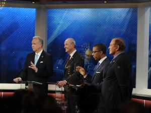 A scene from the second Democratic debate.