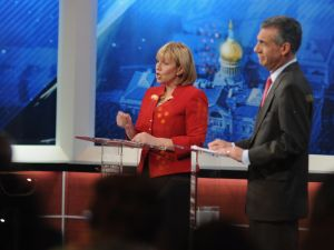 Kim Guadagno and Jack Ciattarelli during a GOP primary debate.