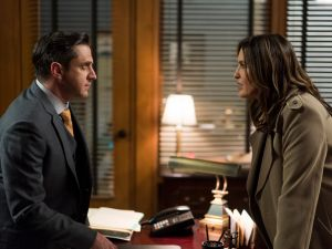 Raul Esparza as A.D.A. Rafael Barba and Mariska Hargitay as Lieutenant Olivia Benson.