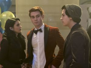 Camila Mendes as Veronica Lodge, KJ Apa as Archie Andrews and Cole Sprouse as Jughead Jones.