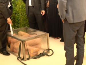 Artist Fyodor Pavlov-Andreevich in a glass box at the 2017 Met Gala.