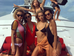 An original promotional shot from Fyre Fest, featuring Bieber ex Hailey Baldwin and Emily Ratajkowski.