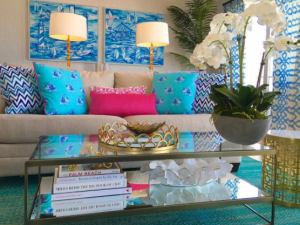 Living room views from the new Lilly Pulitzer suite in Rhode Island.