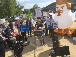 Protesters in N.J.'s third congressional district gather to oppose Congressman Tom MacArthur's vote in favor of the AHCA.