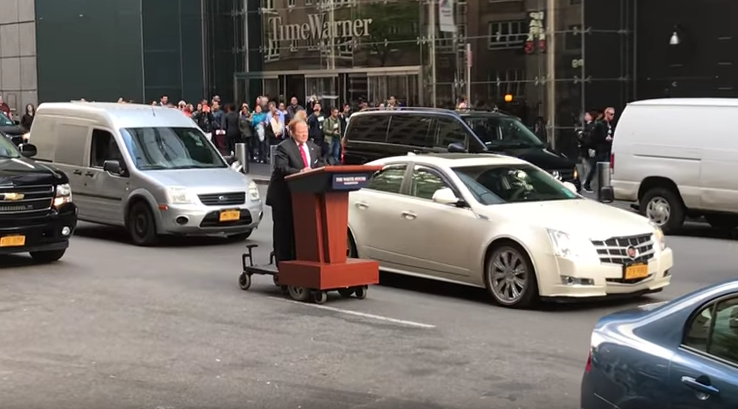 Spotted: Melissa McCarthy Riding Around New York on a Podium as Sean Spicer