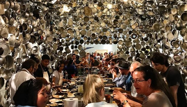 Subodh Gupta's Cooking the World at Art Basel Unlimited 2017.