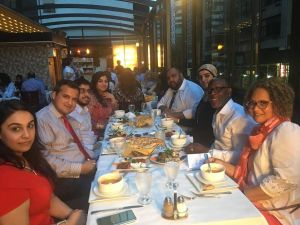 Queens Councilman I. Daneek Miller, second from right, joins the Muslim Democratic Club of New York for their Iftar dinner.
