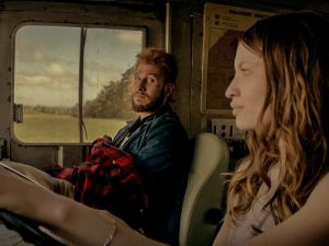Pablo Schreiber and Emily Browning in American Gods.