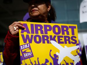 Newark Airport Workers have been pushing for increased wages.