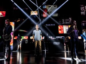 The cast of 'Dear Evan Hansen,' surrounded by social media.