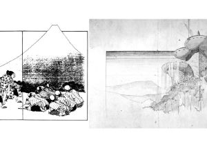 On the left, Katsushika Hokusai's 'The Manifestation of the Peak' (1834); on the right, Wright's rendering of the Huntington Hartford Resort project (1947).
