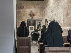 Cloistered nuns in the Monastery of Saint Clare in the western Mediterranean Sardinian city of Oristano.