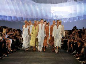 The models walk the runway at the Alexander Wang Spring 2011 fashion show.