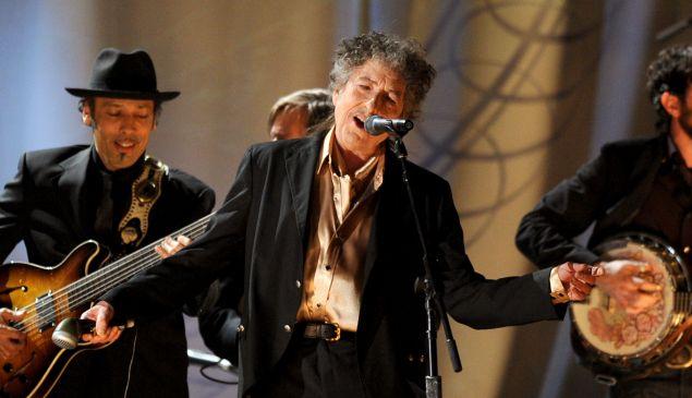 Bob Dylan performs.