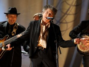 Bob Dylan performs.