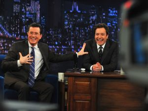 """Stephen Colbert and Jimmy Fallon during a taping """"Late Night With Jimmy Fallon"""" in 2013."""