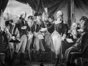 American General and statesman George Washington declining to accept terms from British General Charles Cornwallis, 1st Marquess Cornwallis, whose subsequent surrender practically ended the American War of Independence.