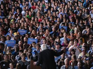 Thousands of people gather to hear Sen. Bernie Sanders.