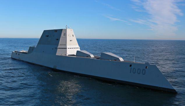 The future USS Zumwalt (DDG 1000) on December 7, 2016 in the Atlantic Ocean.