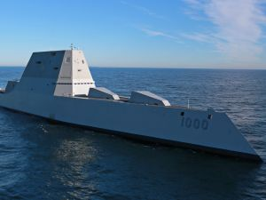 The future USS Zumwalt (DDG 1000) on December 7, 2016 in the Atlantic Ocean.
