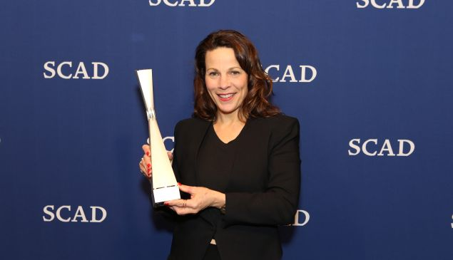 Actress Lili Taylor poses with her Icon award during Icon Award & Spotlight Cast Award Presentations during aTVfest 2016 presented by SCAD on February 5, 2016 in Atlanta, Georgia. (Photo by )
