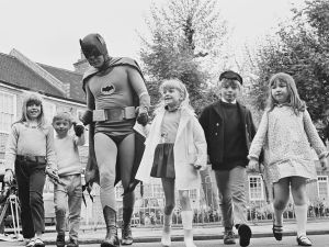 Adam West dressed as 'Batman' for the filming of a road safety ad for children, 7th May 1967.