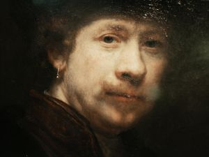 "Amsterdam, NETHERLANDS: Photo shows a detail from a portrait in the exhibition of Dutch artist Rembrandt van Rijn (1606-1669), ""Rembrandt ? Search of a genius"", which opened 30 March 2006 in the Rembrandthuis (House of Rembrandt) in Amsterdam. The expo explains the change in style of the paintings of Rembrandt. Musuem Rembrandthuis shows these changes in an overview of fifty paintings, along with many sketches and prints. AFP PHOTO ANP / JUAN VRIJDAG NETHERLANDS OUT"