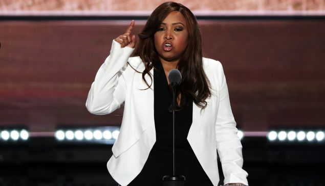 CLEVELAND, OH - JULY 20: Lynne Patton, Vice President of the Eric Trump Foundation, delivers a speech on the third day of the Republican National Convention on July 20, 2016 at the Quicken Loans Arena in Cleveland, Ohio. Republican presidential candidate Donald Trump received the number of votes needed to secure the party's nomination. An estimated 50,000 people are expected in Cleveland, including hundreds of protesters and members of the media. The four-day Republican National Convention kicked off on July 18. (Photo by Alex Wong/Getty Images)