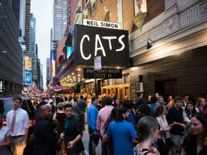 NEW YORK, NY - JULY 31: A view outside the first-ever revival of Andrew Lloyd Webber's iconic CATS on Broadway on July 31, 2016 in New York City. (Photo by Noam Galai/Getty Images for CATS)