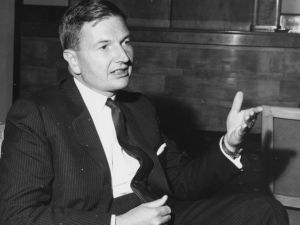 Banker David Rockefeller, Chairman of the Chase Manhattan Corporation, pictured in conversation at the Savoy Hotel during the Chase Investment Forum, London, October 21st 1963.