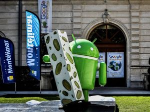 A picture taken on September 21, 2016 shows a statue donated by Google during its inauguration in Montelimar, as Google decided to launch a new version of the android operating system called Android 7.0 or Nougat. / AFP / JEFF PACHOUD (Photo credit should read JEFF PACHOUD/AFP/Getty Images)